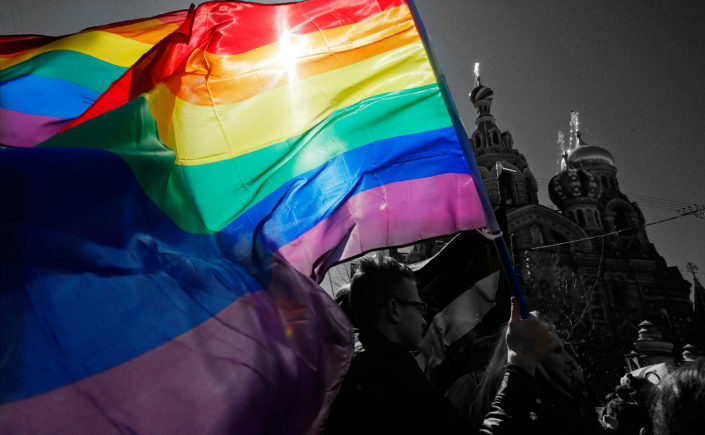Chechnya - rainbow flag in front of the Moscow Kremlin
